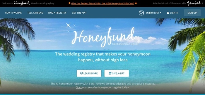 screenshot of the affiliate sign up page for Honeyfund