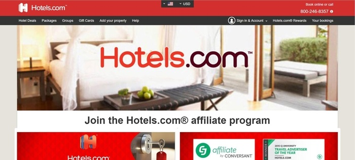 screenshot of the affiliate sign up page for Hotels.com
