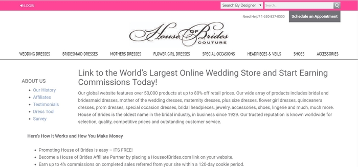 screenshot of the affiliate sign up page for House of Brides