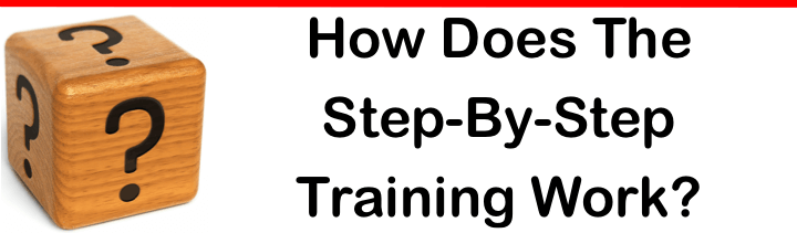 "image of text that reads ""How Does The Step-By-Step Training Work?"""
