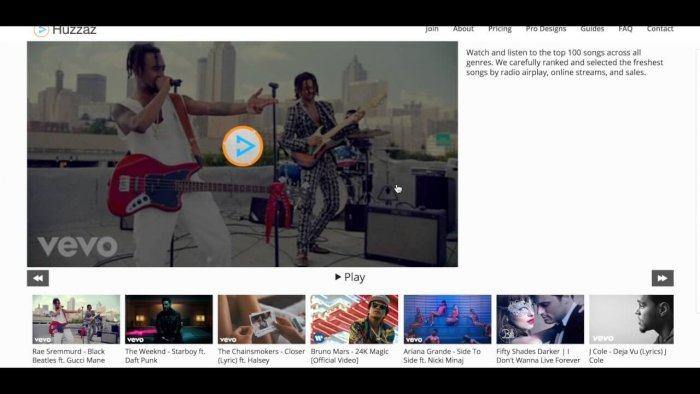 A gallery developed through the Huzzaz Plugin. It shows the selected video in the middle of the screen and a row of thumbnails at the bottom.