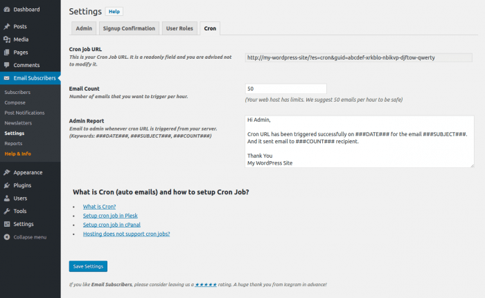 """The """"Email Subscribers"""" tab inside the WP dashboard of an admin using this plugin. Inside the tab, they have a """"Settings"""" page opened on the """"Cron"""" tab, where they can schedule a campaign and decide on an admin report to be received upon execution."""