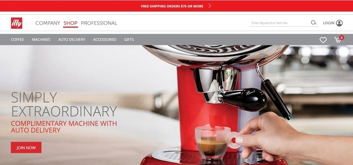screenshot of the affiliate sign up page for Illy Caffe