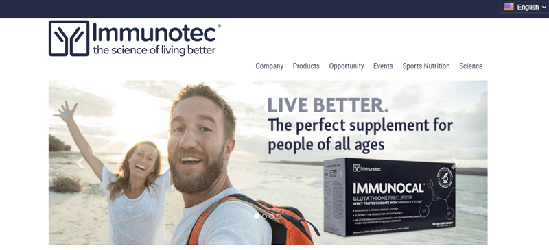 Immunotec website screenshot showing a young couple smiling and excited on a beach. There is also text about living better and how the supplement is perfect for all ages.