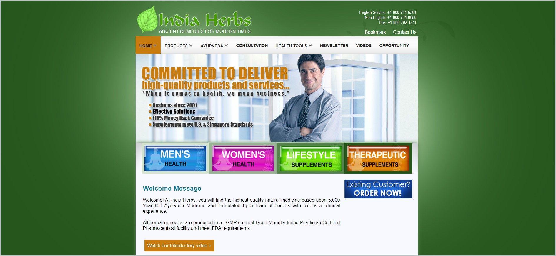 screenshot of India Herbs web page
