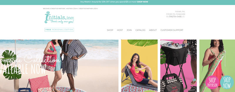 Initials Inc Website Screenshot showing four images of women, all using products from the company.