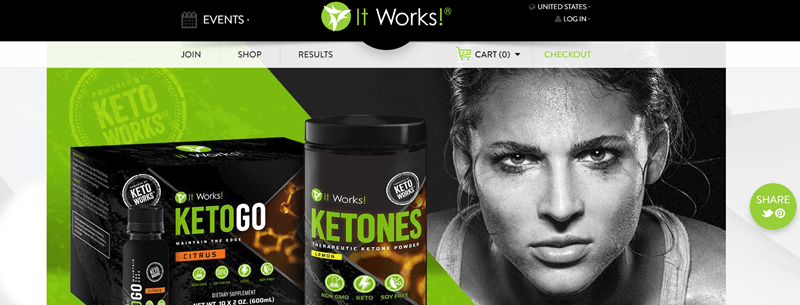 It Works website screenshot showing two keto products and the image of a determined athlete.
