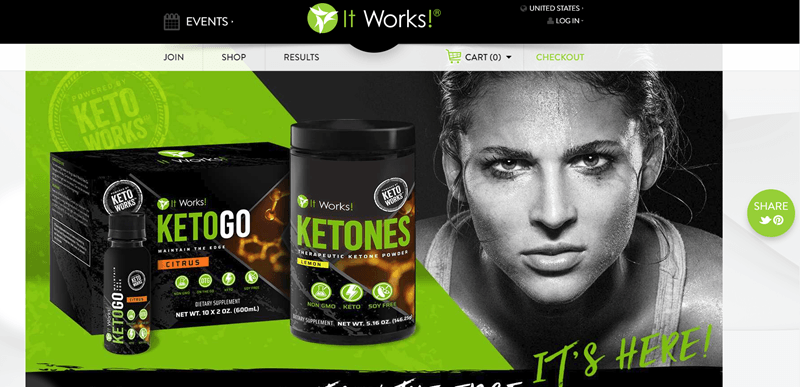 It Works! website screenshot showing two of their ketone-focused products, along with a black and white image of a determined woman staring at the camera.