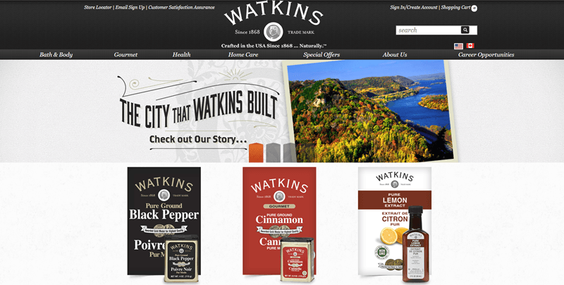J.R. Watkins website screenshot showing a vibrant image of countryside, along with three products from the company.