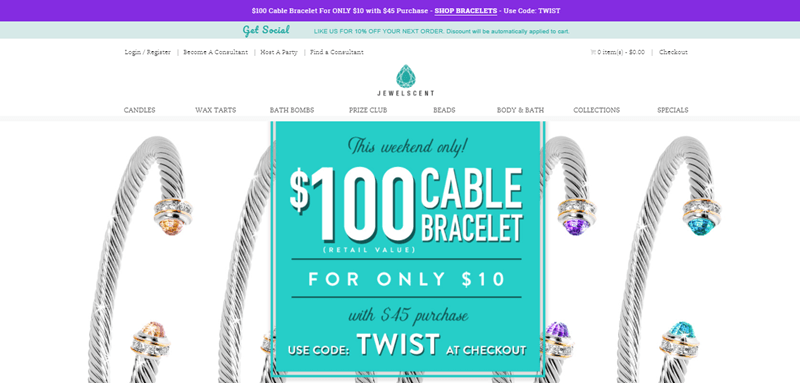 JewelScent website screenshot showing a selection of four cable bracelets and text about using the TWIST code to get one for only $10.