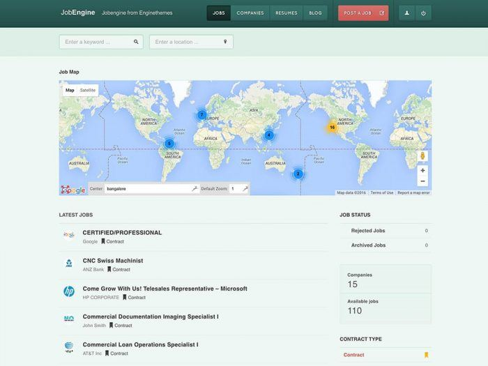 The JobEngine job map showing markers for available jobs. Below the map is a list of the latest jobs, and on the right there are is a job status widget as well as two boxes showing the number of companies and available jobs.