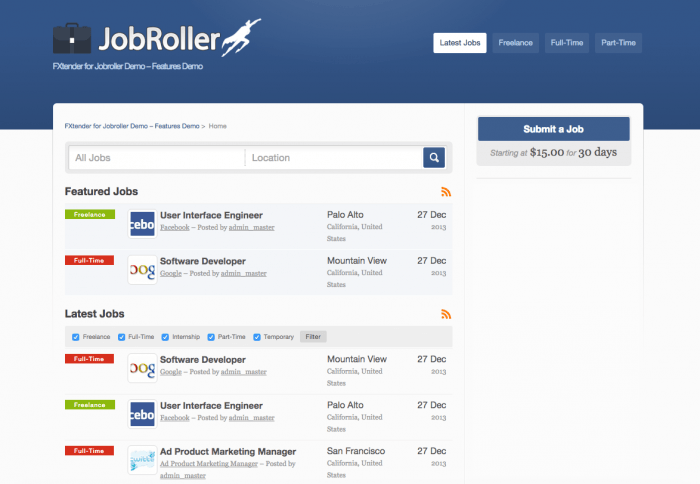 "The JobRoller search engine showing a list of featured jobs and another one for the latest jobs. On the right is a ""Submit a Job"" button the price of one submission written under it."