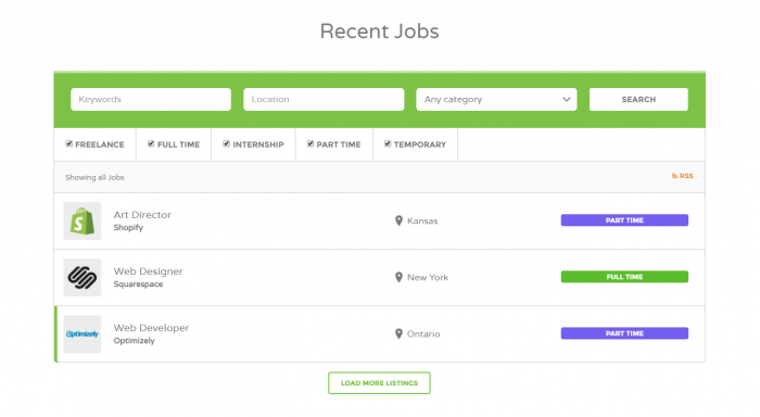 The Recent Jobs search engine. It shows fields for the keywords, location, and category, followed by checkboxes for the job type, and then search results.
