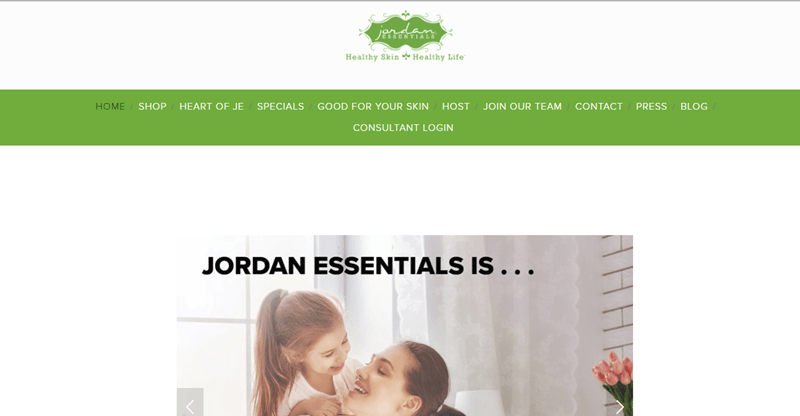 Jordan Essentials website screenshot showing a young mother and her daughter smiling at each other.
