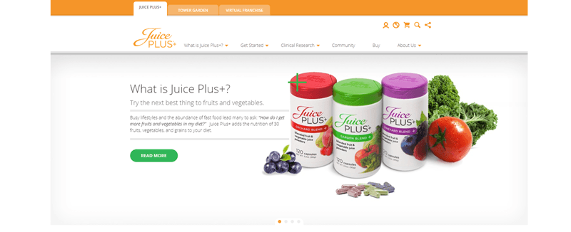 Juice Plus website screenshot showing three of the plant-based supplements, along with various fruit and vegetables.