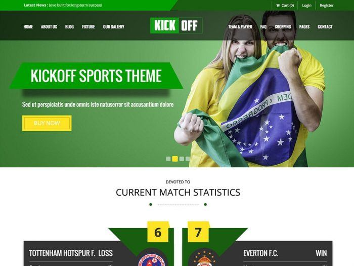 The Kickoff theme's homepage showing a full-screen background image, a header menu, and a purchasing button at the center topped by a slogan.