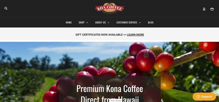 screenshot of the affiliate sign up page for Koa Coffee