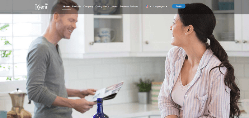 Kyani website screenshot showing a couple in a brightly lit kitchen.