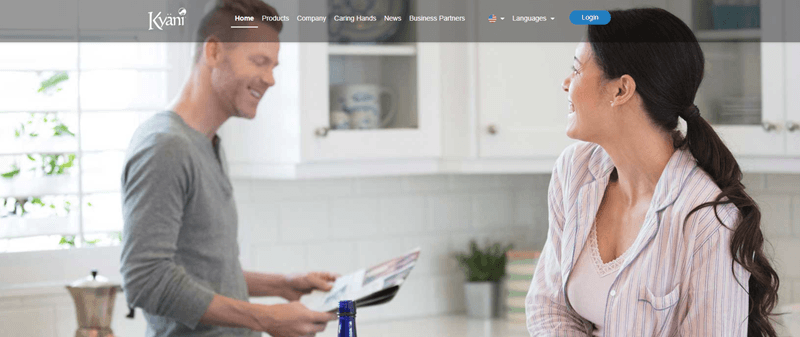 Kyani website screenshot showing a young couple in a well-lit kitchen.
