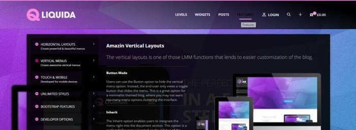 A page on the plugin's website presenting its various menu layout options.