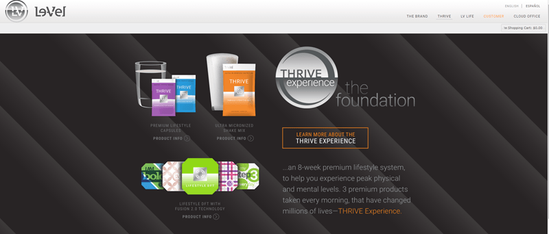 Le-Vel Thrive website screenshot showing a black background with capsules, shakes and patches from the company.
