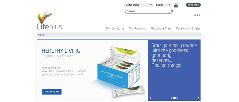 LifePlus website screenshot showing a box of Daily BioBasics Light Sachets.