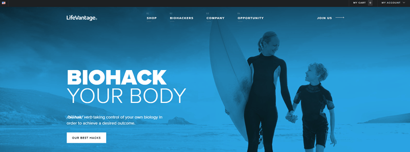 LifeVantage website screenshot featuring a mother and son walking away from the beach, with the mother holding a surfboard.