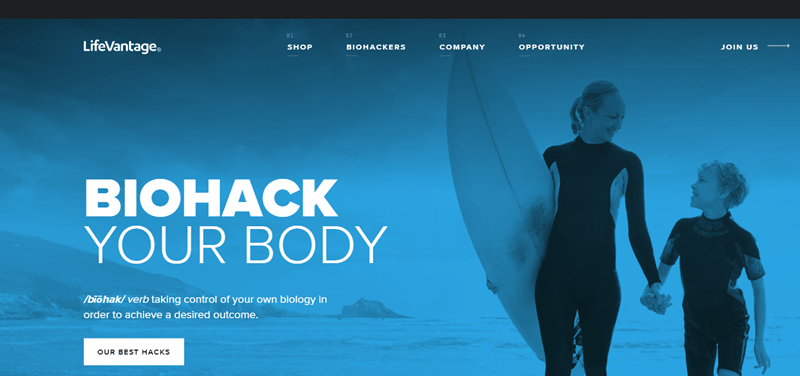 LifeVantage website screenshot showing a young boy and his mother, with the mother holding a surfboard.