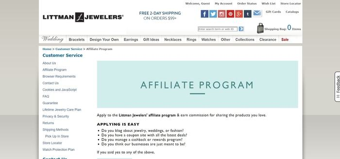 screenshot of the affiliate sign up page for Littman Jewelers
