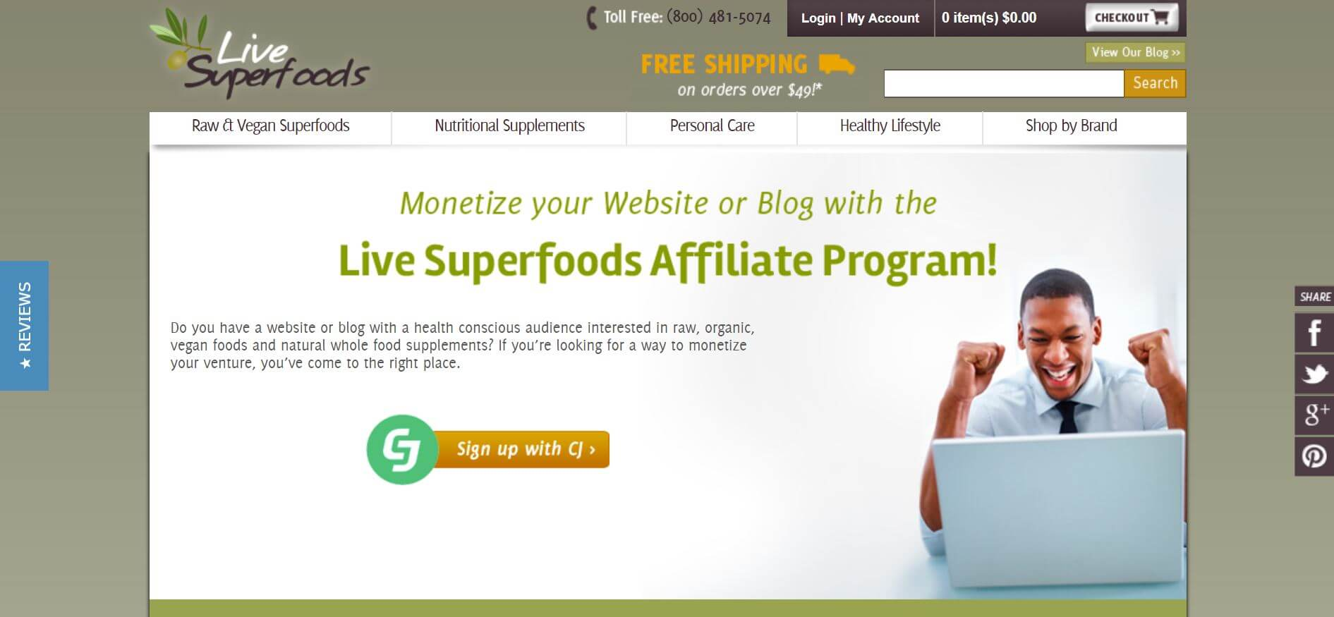 screenshot of the affiliate sign up page for Live Superfoods