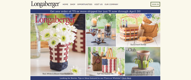 Longaberger website screenshot showing five images that feature their various baskets.