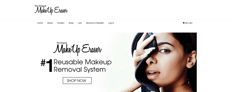 MakeUp Eraser website screenshot showing a woman using a cloth on her face and information about the MakeUp Eraser system.