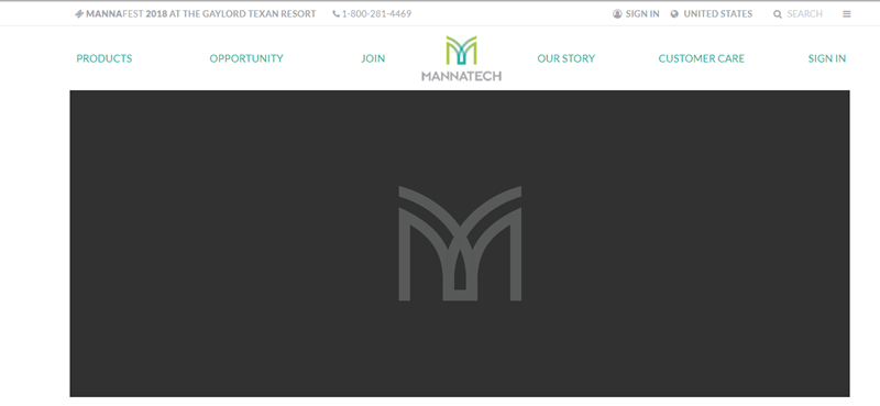 Mannatech website screenshot showing a black background with a gray logo for Mannatech.