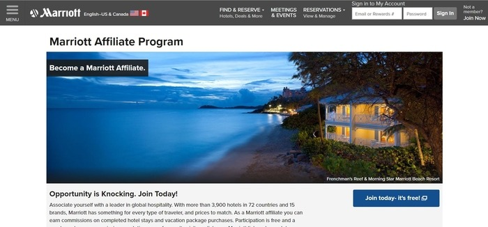 screenshot of the affiliate sign up page for Marriott