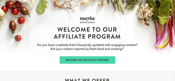 screenshot of the affiliate sign up page for Martha & Marley Spoon