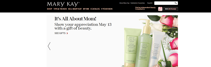 Mary Kay website screenshot showing three products from the company and various flowers.
