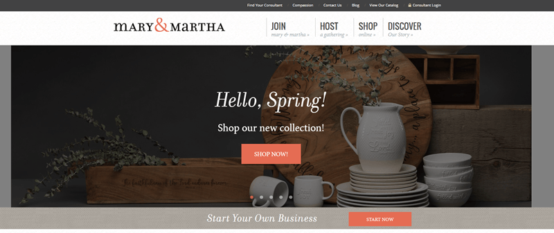 Mary & Martha website screenshot showing white plates, bowls, mugs and a pitcher, along with other tabletop items.