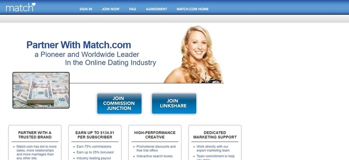 screenshot of the affiliate sign up page for Match.com