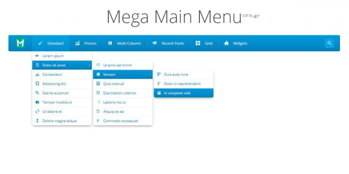 A menu created using the plugin showing three levels of navigation for one of the menu items.