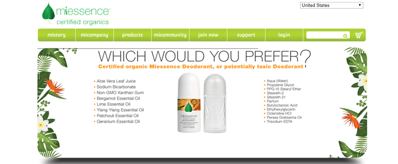 Miessence website screenshot showing a comparison of two deodorants, along with the phrase 'which would you prefer'.