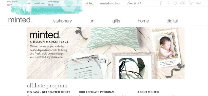 screenshot of the affiliate sign up page for Minted