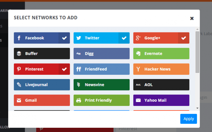 "A window inside the Monarch plugin dashboard titled ""Select Networks to Add"" showing icons for the available social networks with the ones selected ticked on the right."
