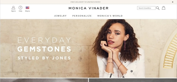 screenshot of the affiliate sign up page for Monica Vinader