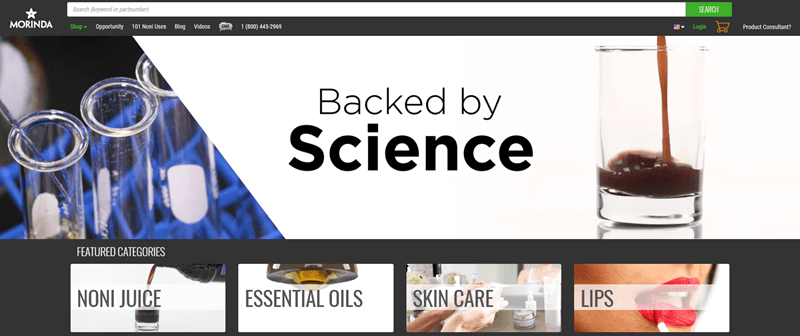 Morinda website screenshot showing the concept of being 'Backed by Science'.