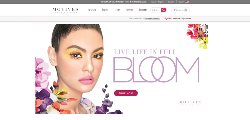 Motives Cosmetics website screenshot showing a young woman with brightly colored eye making and various flowers around her.