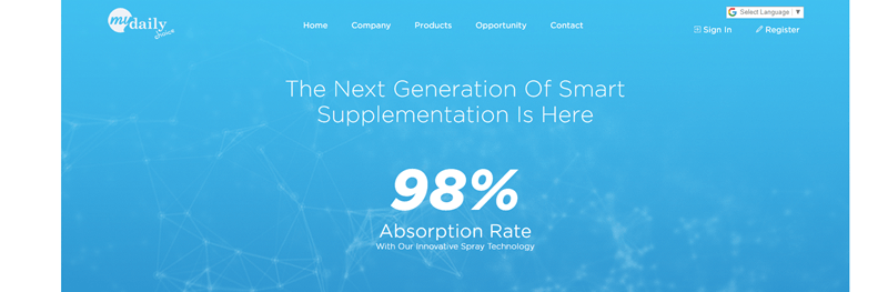 My Daily Choice website screenshot showing a light blue background with scientific images. The text talks about 'the next generation of smart supplementation'.