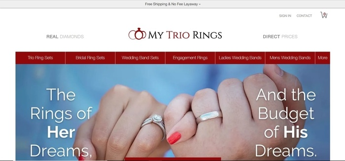 screenshot of the affiliate sign up page for My Trio Rings