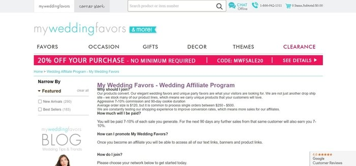 screenshot of the affiliate sign up page for My Wedding Favors