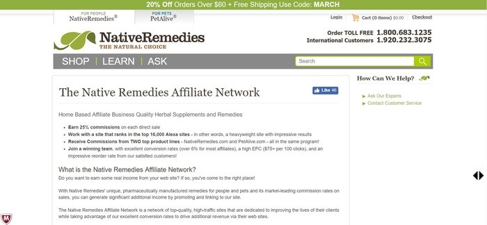 screenshot of the affiliate sign up page for Native Remedies