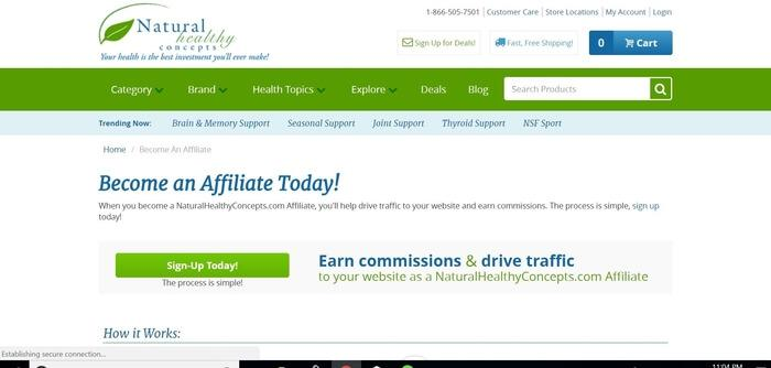 screenshot of the affiliate sign up page for Natural Healthy Concepts